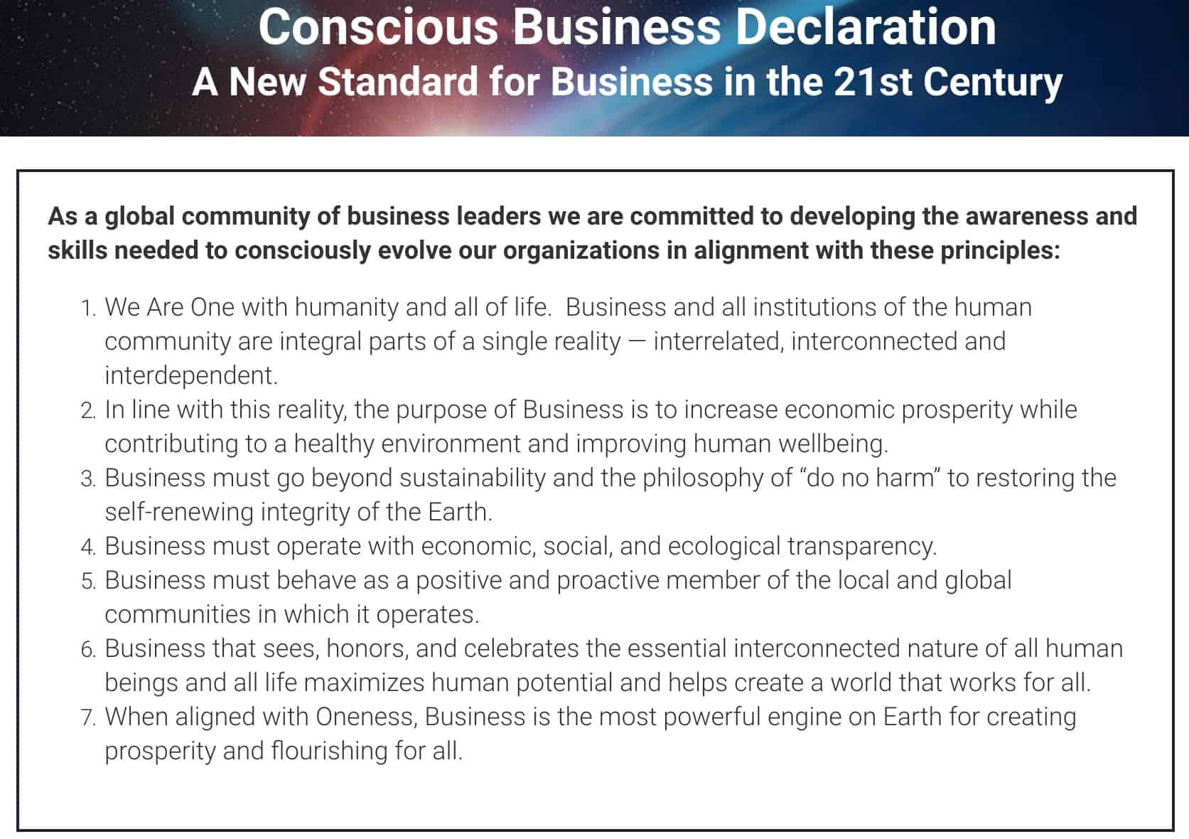 conscious business declaration- blurring the lines between charities&social enterprises